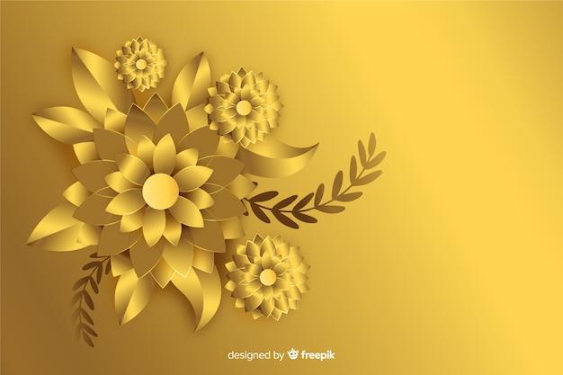 3d złote kwiaty tło Darmowych Wektorów