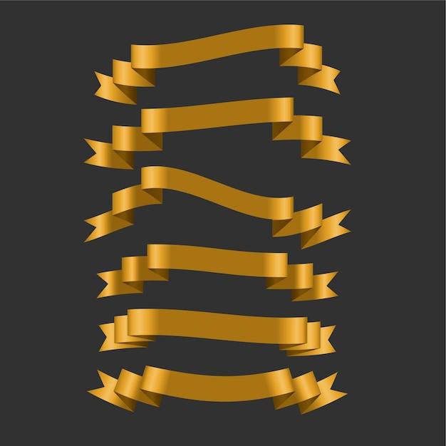 3d Złote Wstążki Zestaw Sześciu Darmowych Wektorów