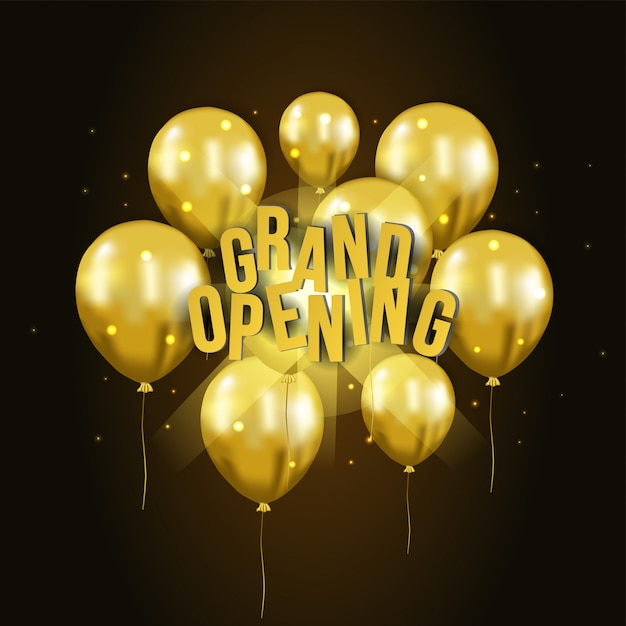 3d złoty balon latający uroczysty szablon otwarcia Premium Wektorów