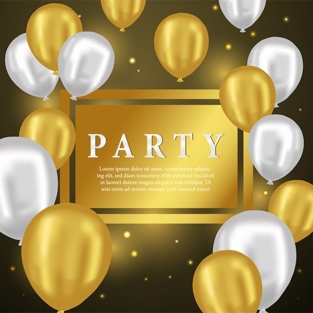 3d Złoty I Srebrny Balon Na Kartkę Z życzeniami Premium Wektorów