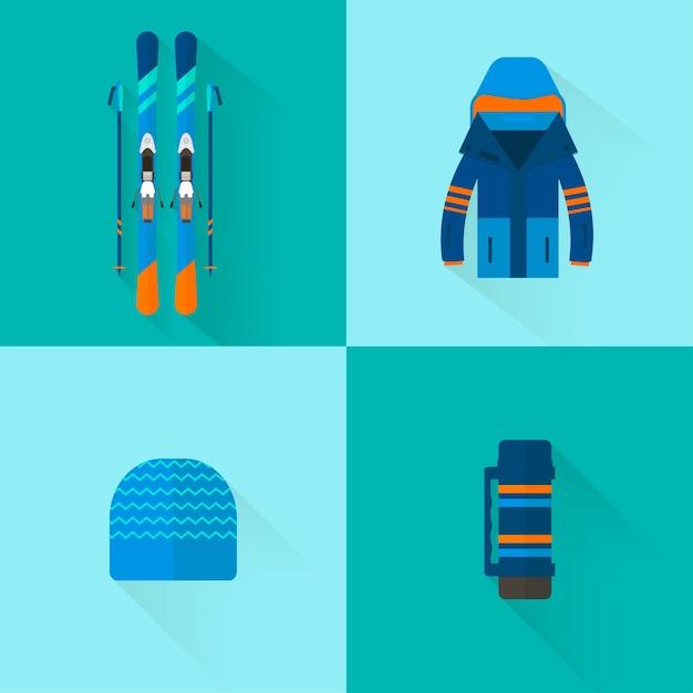 4 Kolekcja Ikon Sportów Zimowych. Zestaw Sprzętu Narciarskiego I Snowboardowego W Płaskiej Konstrukcji. Elementy Obrazu Ośrodka Narciarskiego, Zajęcia Górskie Premium Wektorów