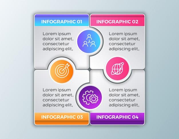 4 kroki biznesu infografikę Premium Wektorów