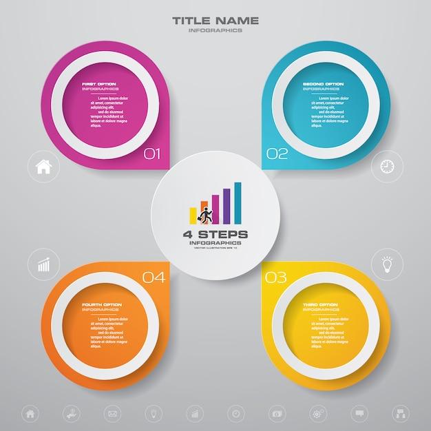 4 kroki prosty i edytowalny wykres procesu. eps 10. Premium Wektorów