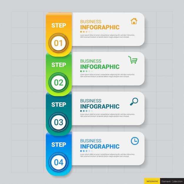 4 kroki szablon infografiki Premium Wektorów