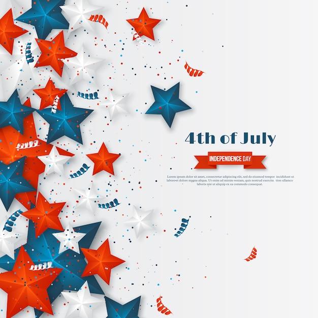 4 Lipca - Dzień Niepodległości Ameryki. Tło Wakacje Amerykańskie. 3d Gwiazdki W Barwach Narodowych Z Serpentynami I Konfetti Premium Wektorów