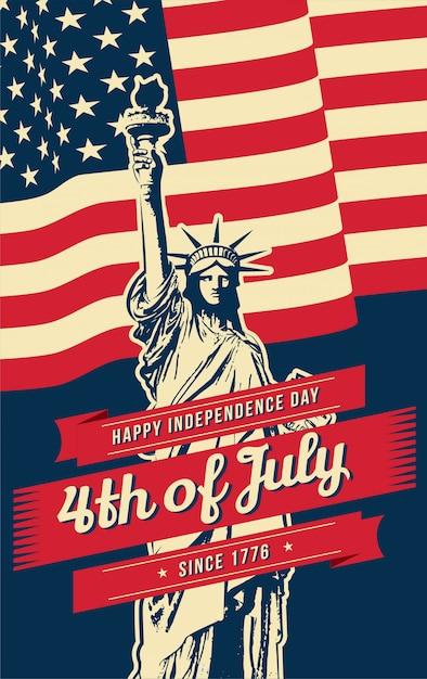 4 lipca plakat z elementami amerykańskimi Premium Wektorów