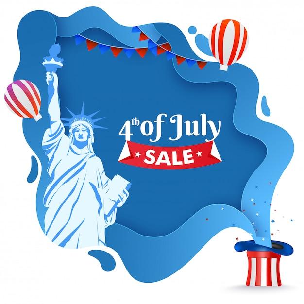 4 lipca sprzedaż plakatu lub szablonu projektu z posągiem libert Premium Wektorów