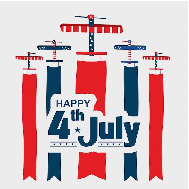 4 lipca us air show dzień niepodległości Premium Wektorów