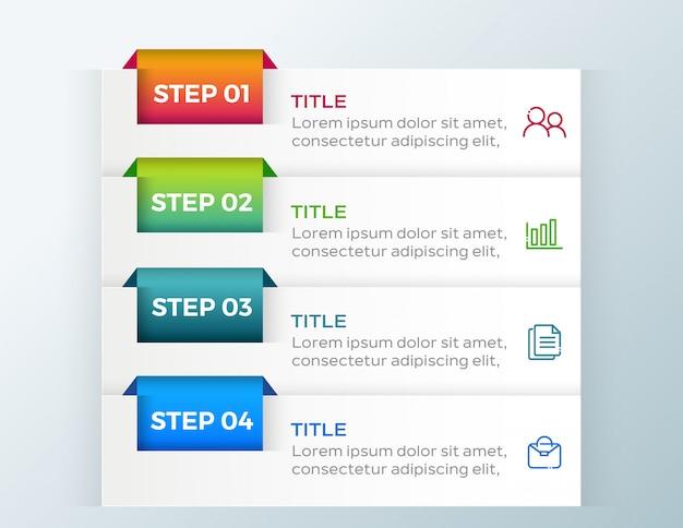 4 opcje kroki biznesu infografikę Premium Wektorów