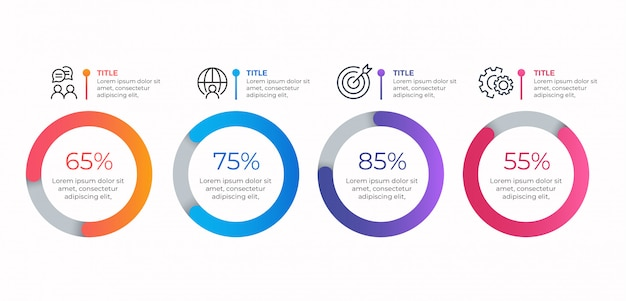 4 Opcje Szablon Biznes Infographic Premium Wektorów