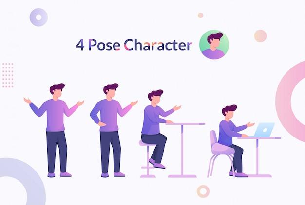 4 Pozy Charakteru Mężczyzna Ilustracja Premium Wektorów