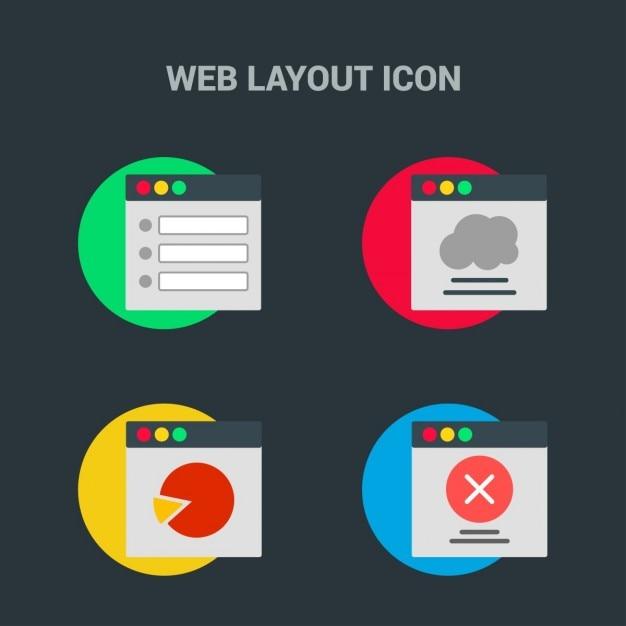 4 web ikon układ zestaw Darmowych Wektorów