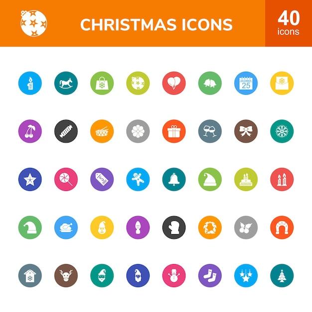 40 Christmas Circle Z Multi Kolorowymi Zestawami Ikon Premium Wektorów