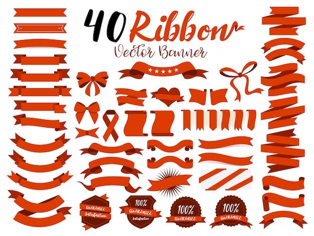 40 czerwonych wstążek Premium Wektorów