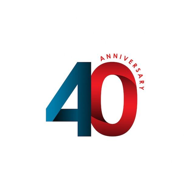 40-lecia rocznica szablon wektor ilustracja Premium Wektorów
