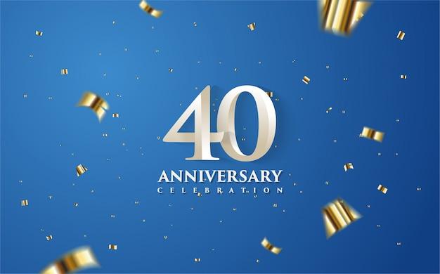 40 Rocznica Z Białymi Cyframi Na Niebieskim Tle. Premium Wektorów