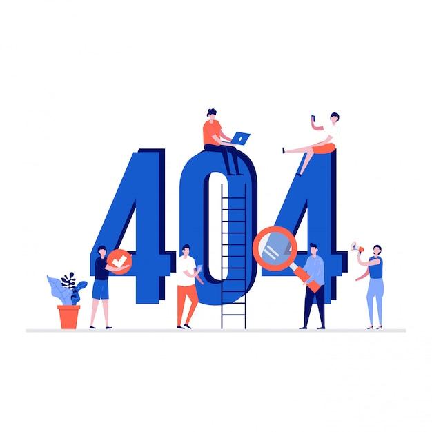 404 Koncepcja Ilustracji Błędu Ze Znakami. Przepraszamy, Nie Znaleziono Szablonu Witryny Sieci Web. Premium Wektorów