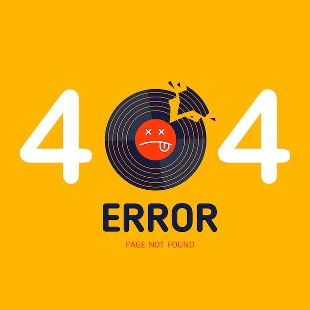 404 strona błędu nie znaleziono uszkodzona muzyka winylowa Premium Wektorów