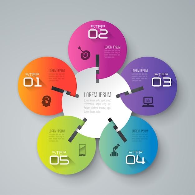 5 kroków biznesowych infographic elementów do prezentacji Premium Wektorów