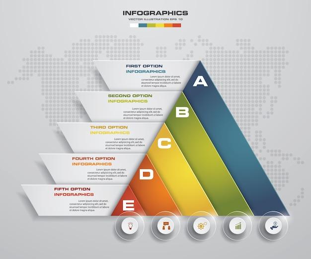 5 Kroków Prezentacji Infografiki Szablon Premium Wektorów