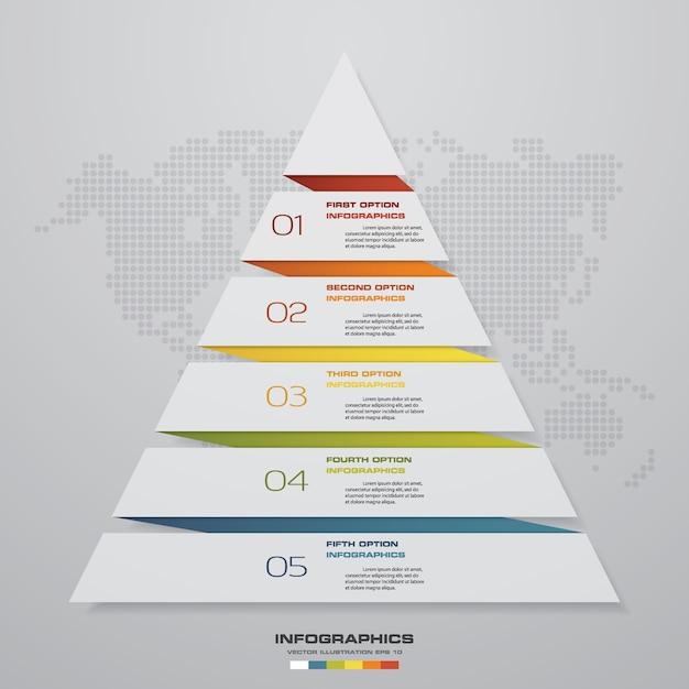 5-stopniowa Piramida Do Prezentacji Danych. Premium Wektorów