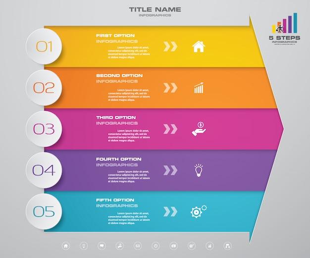5-stopniowy strzałkowy wykres elementów infografiki do prezentacji. Premium Wektorów