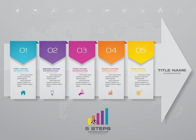 5-stopniowy Szablon Wykresu Strzałkowego Elementu Infografiki. Premium Wektorów