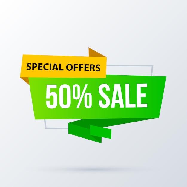 50% Szablon Transparent Sprzedaż W Nowoczesnym Stylu Origami Premium Wektorów