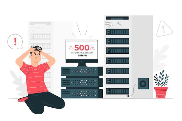 500 Ilustracji Koncepcja Błędu Serwera Wewnętrznego Darmowych Wektorów