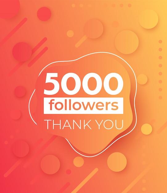5000 Obserwujących, Baner Dla Mediów Społecznościowych Premium Wektorów