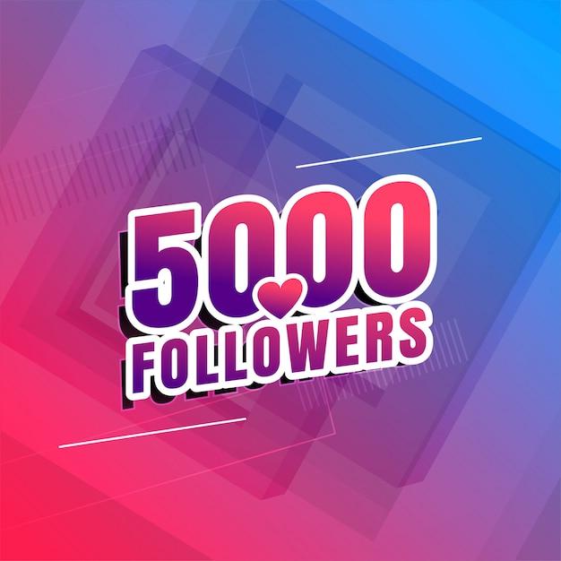 5000 Obserwujących Projekt Tła W Mediach Społecznościowych Darmowych Wektorów