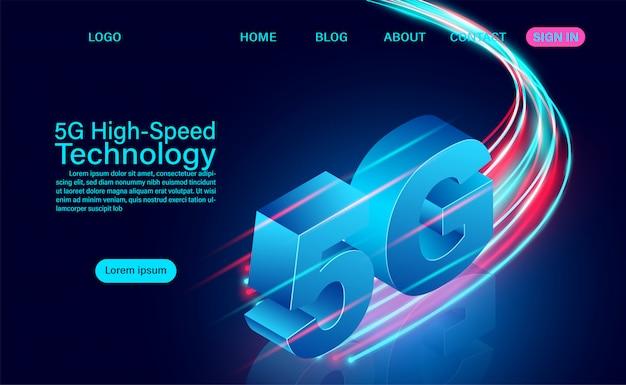 5g Koncepcja Szybkiej Technologii. Komunikacja Sieciowa Internet Bezprzewodowy. Najszybsze Połączenie Internetowe. Ilustracja Izometryczny Płaska Konstrukcja Premium Wektorów