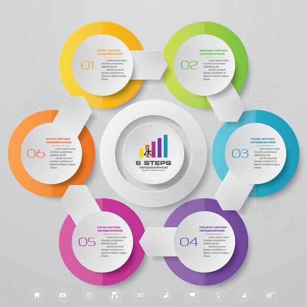 6 kroków wykresu elementów infografiki. Premium Wektorów