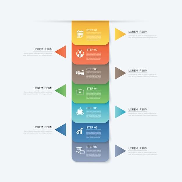 7 Danych Krok Infografiki Szablon Zakładki Papier Na Osi Czasu. Premium Wektorów