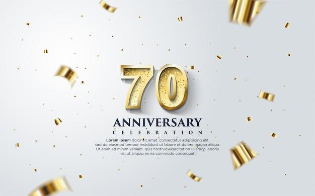 70. Rocznica Z Ilustracją Złotych Postaci Na Białym Tle. Premium Wektorów