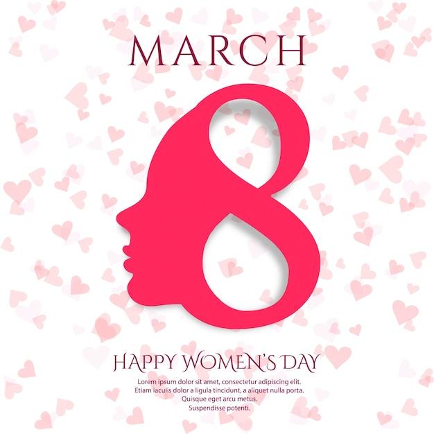 8 marca kartkę z życzeniami. tło dla projektu międzynarodowego dnia kobiet Darmowych Wektorów