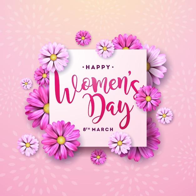 8 Marca. Kwiatowy Kartkę Z życzeniami Szczęśliwego Dnia Kobiet. Międzynarodowa Wakacyjna Ilustracja Z Kwiatu Projektem Na Różowym Tle. Darmowych Wektorów