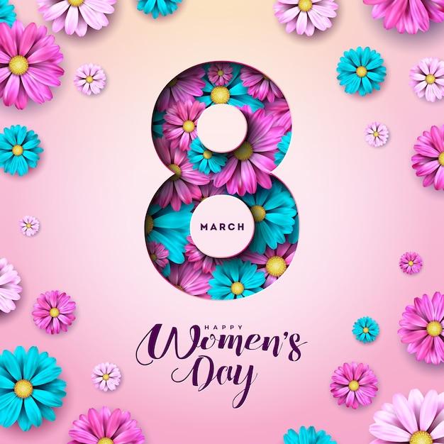 8 Marca. Kwiatowy Kartkę Z życzeniami Szczęśliwego Dnia Kobiet. Darmowych Wektorów