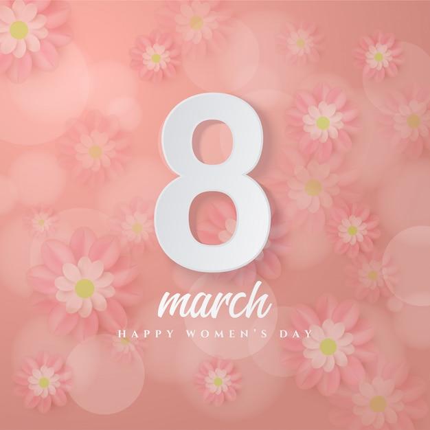 8 Marca Numery 8 Białych 3d Na Różowym Kwiatku. Premium Wektorów