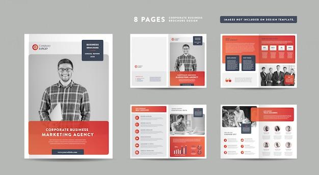 8 Stron Projektowanie Broszur Biznesowych | Raport Roczny I Profil Firmy | Szablon Projektu Broszury I Katalogu Premium Wektorów