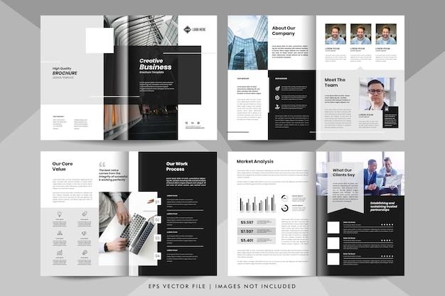 8-stronicowa Prezentacja Biznesowa, Szablon Profilu Firmy. Szablon Broszury Korporacyjnej. Premium Wektorów