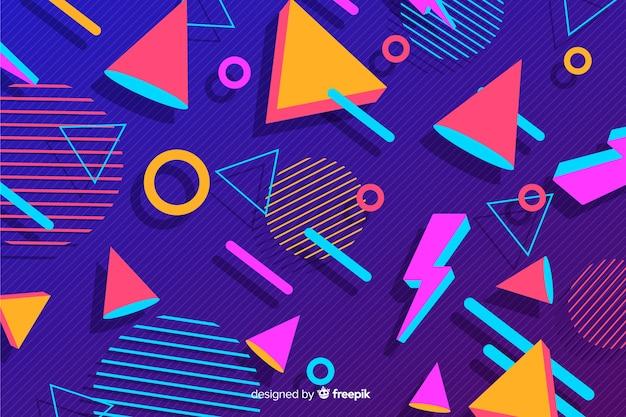 80 styl tło z geometrycznymi kształtami Darmowych Wektorów