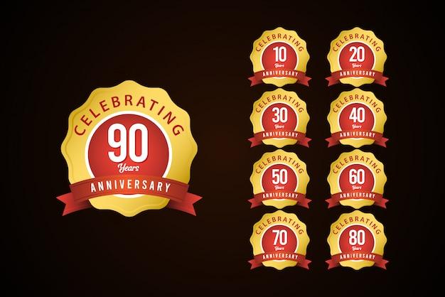 90 Lat Rocznica Zestaw Uroczystości Złoty żółty Elegancki Szablon Projektu Ilustracja Premium Wektorów