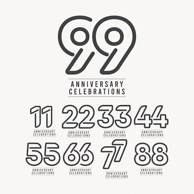 99 Lat Rocznica Numer Szablonu Projektu Ilustracja Premium Wektorów