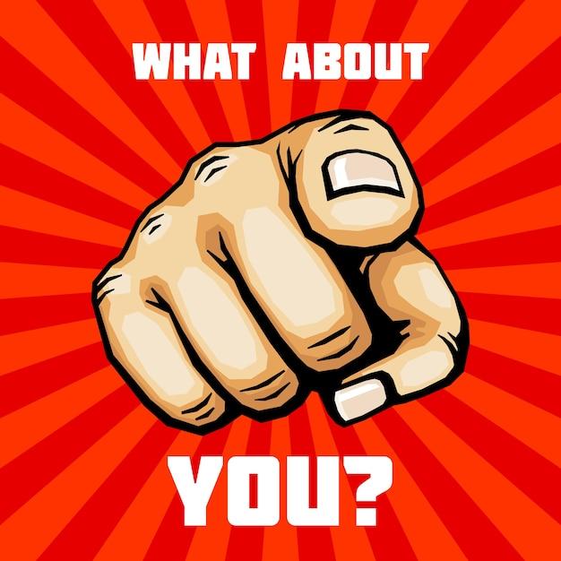 A co z twoją ręką z palcem wskazującym wektor Premium Wektorów