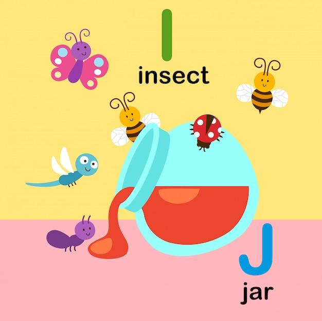 Abecadło List Ja Dla Insekta, J Dla Słoju, Ilustracja Premium Wektorów