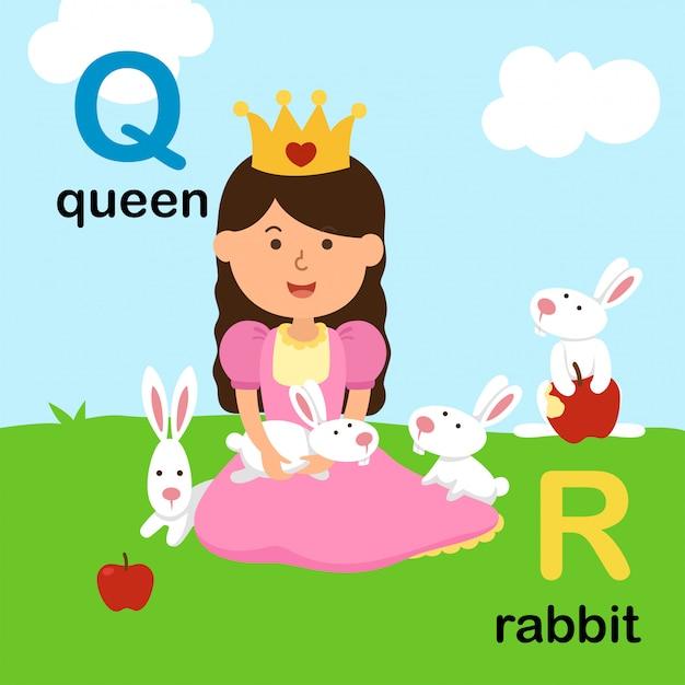 Abecadło Listowy Q Dla Królowej, R Dla Królika, Ilustracja Premium Wektorów