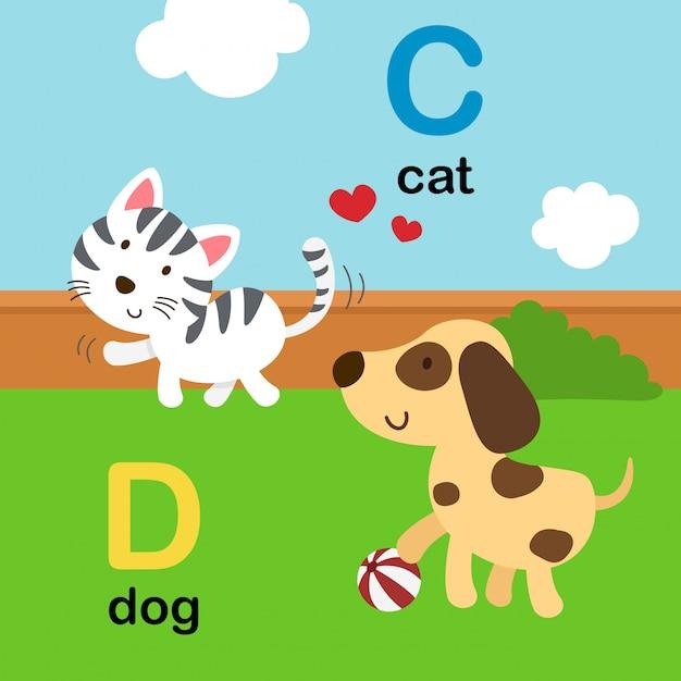 Abecadło Litera C Dla Kota, D Dla Psa, Ilustracja Premium Wektorów