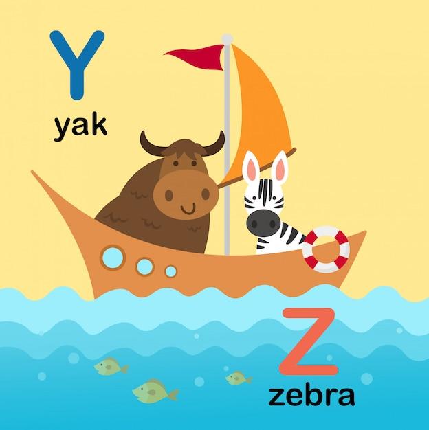 Abecadło litera y dla yak, z dla zebry, ilustracja Premium Wektorów