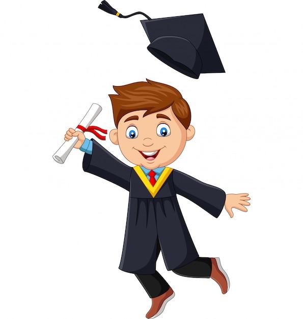 Absolwent chłopiec kreskówka posiadający dyplom Premium Wektorów